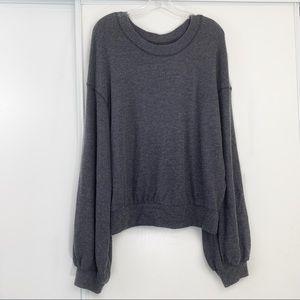 Free People TGIF Soft Balloon Sleeve Sweater Gray